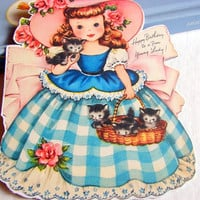 Birthday Greeting Card Keepsake Magnet - Happy Birthday To A Fine Young Lady Girl With A Basket Of Kittens - Retro Vintage Kitsch