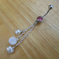 Belly Button Ring - Pearl Dangle Belly Button Ring - Pearl Naval Ring
