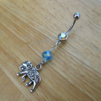 Belly button ring - Silver Elephant with blue bead Belly Button Ring
