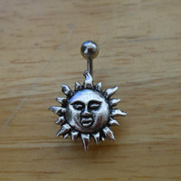Belly button ring - Body Jewelry - Silver Sun belly button ring