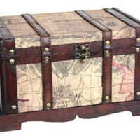 Old World Map Wooden Trunk