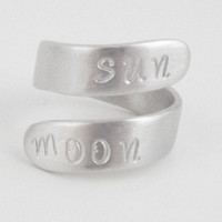 Personalized quote sun moon hand stamped brushed silver lightweight nickel free aluminum rust resistant metal classic everyday wrap ring.