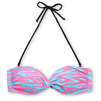 Glamour Kills Turquoise &amp; Pink Zigzag Bandeau Bikini Top