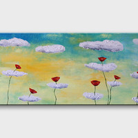 Original poppy painting on canvas Landscape art Modern Fantasy Flower Floral Summer painting Wall art Home warming decor