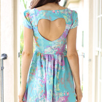 Blue Heart Cutout Dress with Contrast Print &amp; Cap Sleeves