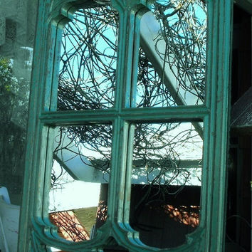 Window frame mirror teal in color from cassedywooddesigns for Teal framed mirror