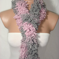 Knitted Pink, Gray Elegant Wool Scarf, Warmer by Arzu&#x27;s Style