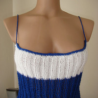 Hand knitted gorgeous low back blue and white tank top,bikini top for spring&amp;summer by Arzus