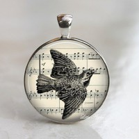 vintage bird flying sketch drawings glass round necklace keychain