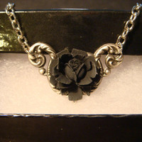 Neo Victorian Black Rose Necklace in Antique Silver (1058)
