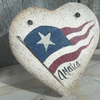 Primitive Salt Dough Heart July 4th Decoration