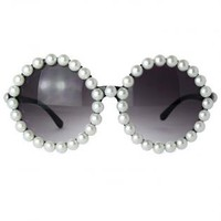 Pearl Embellished Round Sunglasses with Curved Temple