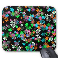 Orange, Red, Blue, Green, Purple Flowers On Black Mouse Pad from Zazzle.com