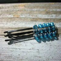 Wire Wrapped Blue Beaded Black OR Brown Bobby Pins