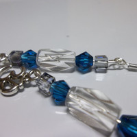Silver Blue Earrings, Throat Chakra Jewelry Ohm Charm, Blue Ice Color Energy Jewelry