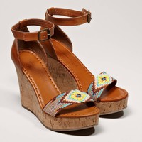 AEO Beaded Wedge Sandal | American Eagle Outfitters