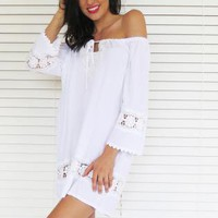 Dress Tunic Off Shoulder Crochet White