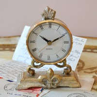 Antique Style Silver Table Clock