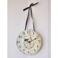 Bon Appetit Paris Country Inspired Petite Clock with Ribbon