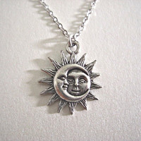 Silver Sun and Moon Pewter Charm Necklace, Gift for her