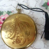 Vintage Pocket Watch Zell of Fifth Avenue Compact Moon and Flowers