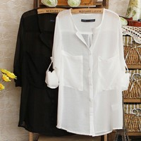 Simple Wild Spinning V-neck Chiffon Shirt For Women