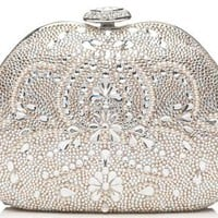 Damask Pattern Crystal Clutch