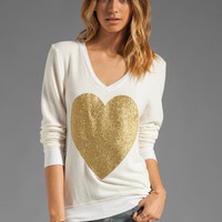Wildfox Couture EXCLUSIVE Gold Sparkle Heart Baggy Beach Jumper in Pearl from REVOLVEclothing.com