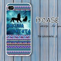 Hakuna matata on blue aztec : Handmade case For Iphone 4/4s ,5