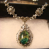 Neo Victorian Style Blue Green Dichroic Glass Necklace in Antique Silver (1062)