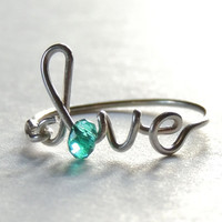 Lower case  love wire ring - turquoise crystal faceted  reduced price-love word- script-italics-writing