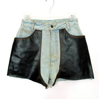90's Faux Leather Denim High Rise Shorts size -XS/S - Waist 26""