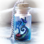 Tim Burton inspired vial necklace, Nightmare Before Christmas -like scene in a bottle