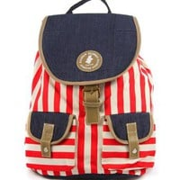 Vertical Striped Canvas Backpack Shoulders Bag School Book Bag Back to School Season: Clothing