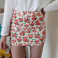 Sweet Flower Elastic Slim Mini Skirt