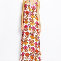 Orange and Pink Ikat Print Maxi Dress - TAMBOURINE Orange and Pink Ikat Print Maxi Dress