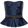 Burberry Prorsum|Strapless satin peplum top|NET-A-PORTER.COM