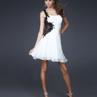 White A Line One Shoulder Applique Cocktail Dress (CBS077)