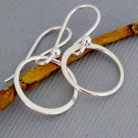 Small Simple Sterling Silver Hoop Earrings