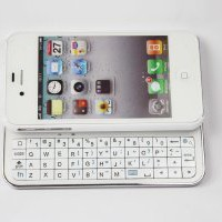 FOM Ultra-thin Wireless Bluetooth 2.0 Slide-out Back Light Keyboard for iPhone4/4S-White: Cell Phones & Accessories