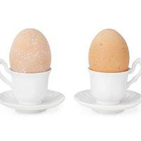 EGG CUPS | Tea, Cups, Eggs, White, Porcelain | UncommonGoods