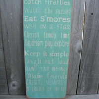Primitive Rustic Camping Rules Sign Typography  subway sign