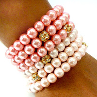 Spring Sale 10% OFF: Pink Ombre Glass Pearl Memory Wire Bracelet with Gold Metal Beads