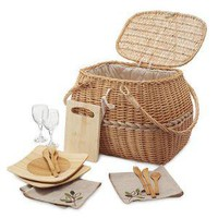 ECO PICNIC BASKET | Eco-friendly Set with Recycled Wine Glasses | UncommonGoods