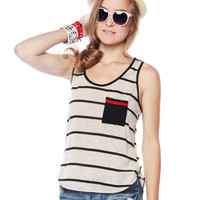 Papaya Clothing Online :: ONE POCKET STRIPE SLEEVELESS TOP