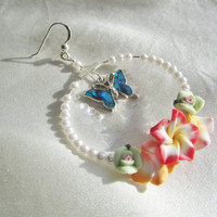 Butterfly and Flowers Summer Earrings