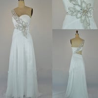 Stunning One Shoulder White Prom Dress / Evening Dress