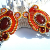 Orange Dreamsicle Carnelian Gemstone and Crystal Soutache Earrings