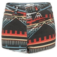 MOTO Indigo Aztec Denim Shorts