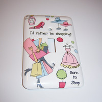 Shopping themed single light switch cover